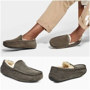 UGG Ascot Men Suede Wool Lined Slippers Charcoal